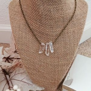 Antique looking Crystal necklace Raw quartz